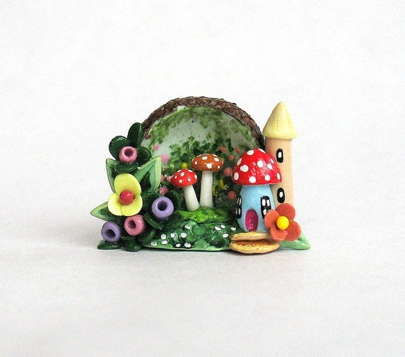 Miniature Fairy House & Toadstools Hand Painted by ArtisticSpirit, $32.50