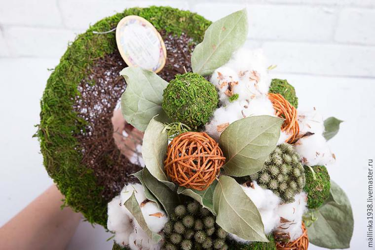 Make Decorative Bouquet Of Cotton And Dried Flowers, фото № 12
