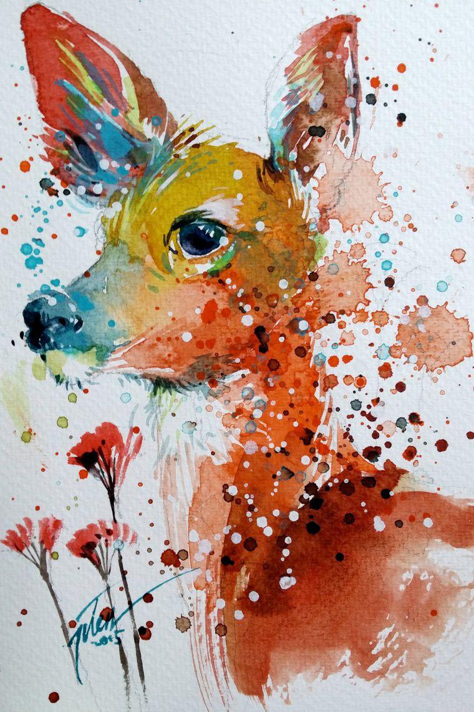 Животные акварелью картинки, надписью марта