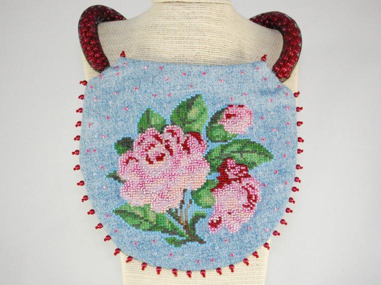 колье, вышивка бисером, текстиль, бохо стиль