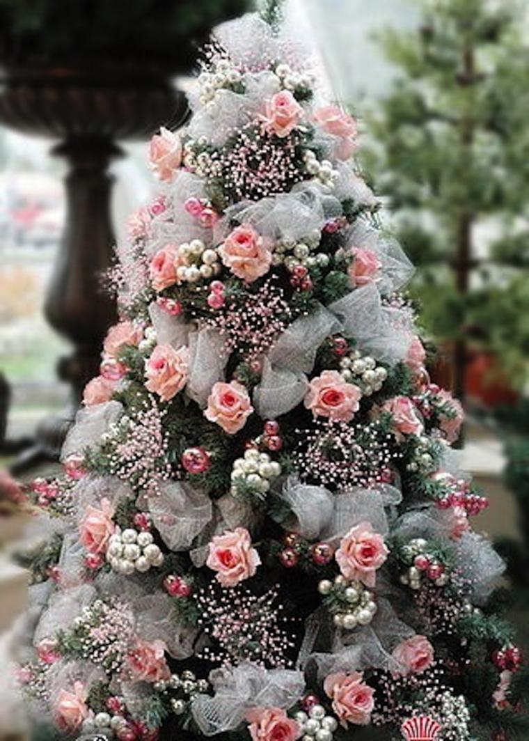 Фото новогодних елок украшенных цветами