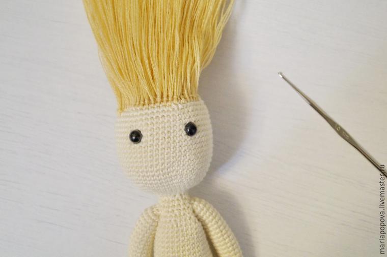 делаем прическу кукле, вязание