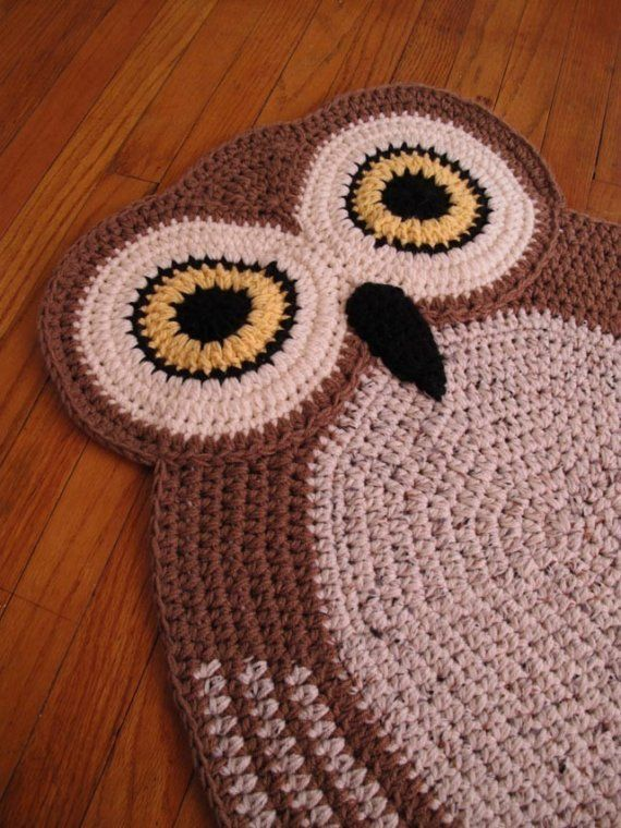 crocheted owl rug to inspire - etsy