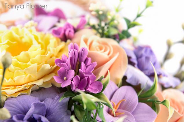 deco, цветы из полимерной глины, цветы в корзине, ирисы, таня фловер