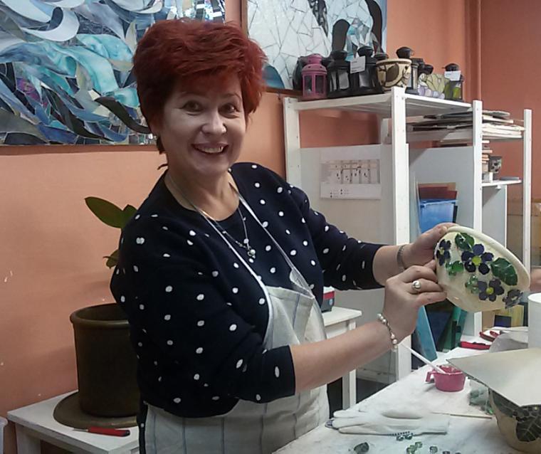декорирование кашпо, мозаичный горшок, сертификат на мк