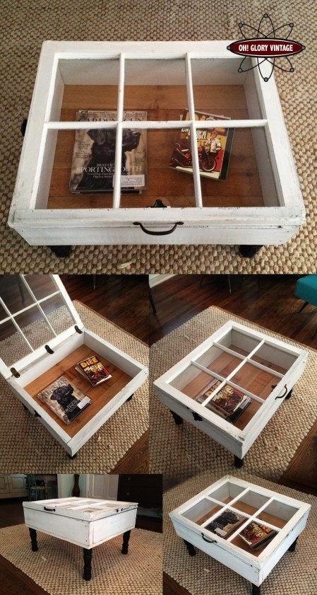 Art DIY - Reclaimed Window Coffee Tables crafts... Classic Wooden windows are easy to find at flea markets. I freaking love this.