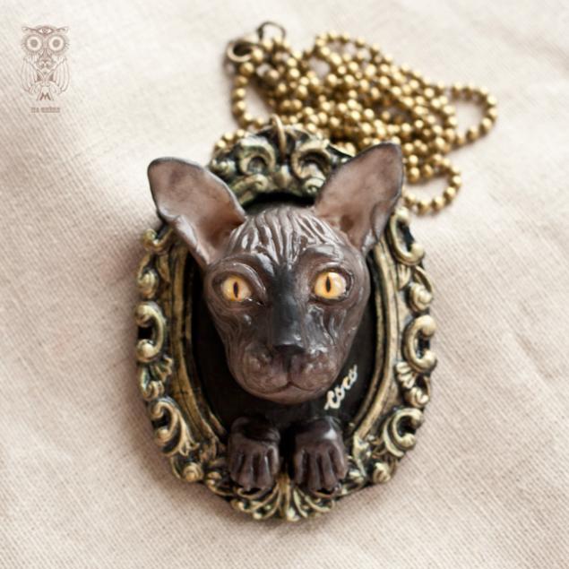 полимерная глина, украшения, необычные украшения, авторские украшения, голая кошка, кошечка