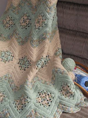 Granny Square and Ripples Crochet Afghan Pattern