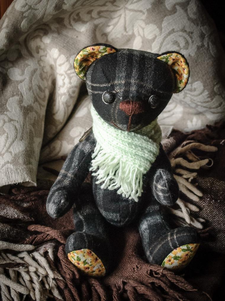 фото, тартан, мишка в шарфике