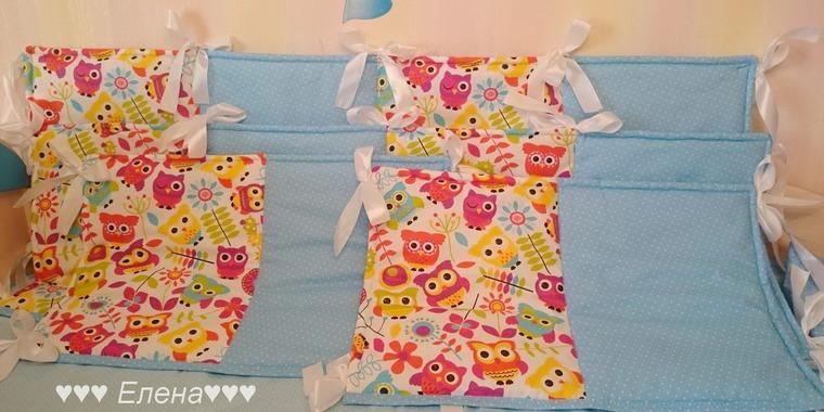 бортики в кроватку, на заказ, атласная лента