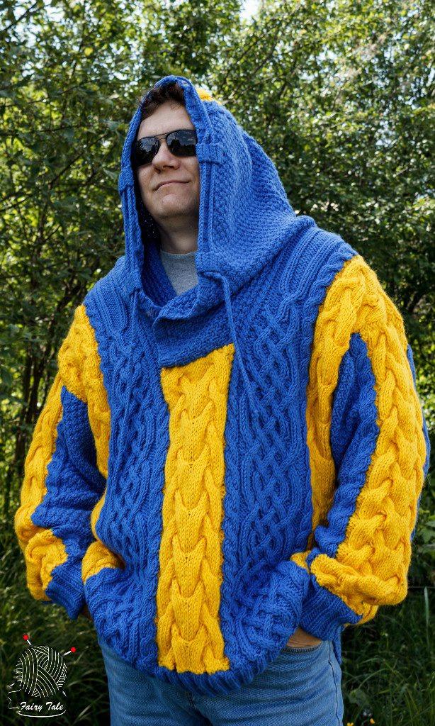 синий, одежда вязаная