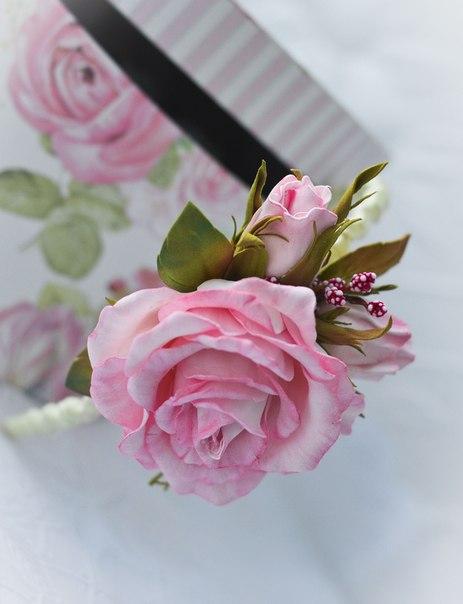 фоамиран, цветы из фоамирана, реалистичная флористика, ободок с цветами