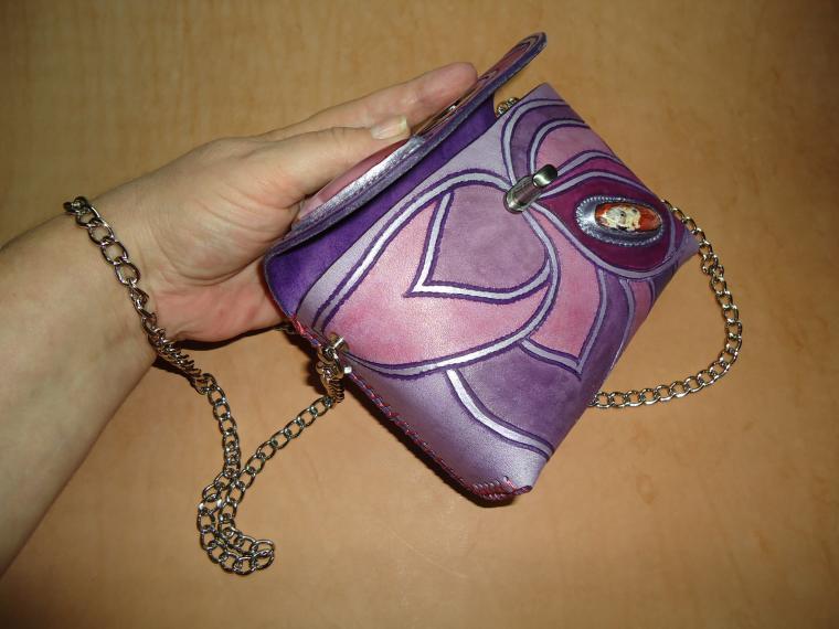 авторская сумка, функциональный подарок, сумка с декором, сумка женская, сиреневый