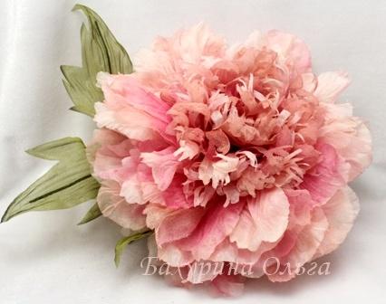 цветы из шелка, цветы, брошь, пионы