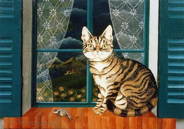 Котики на окне картинки для детей