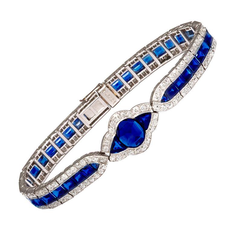 Ар-деко сапфир и алмаз браслет
