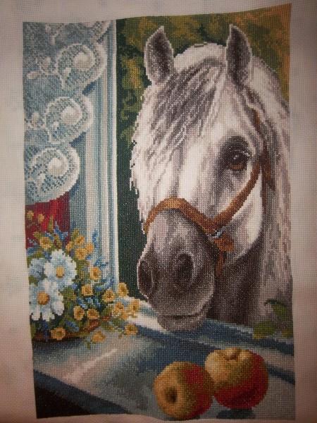 лошади, лошадки, вышивка крестом