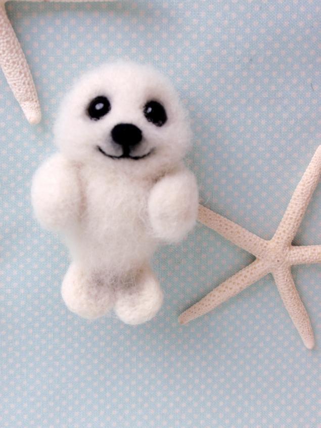 нерпенок, морской котик, wool, игрушка из шерсти