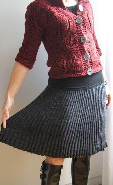 фото вязанные юбки:
