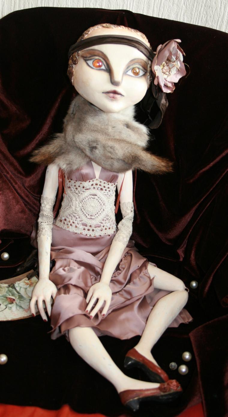 авторская кукла, цветок из шелка