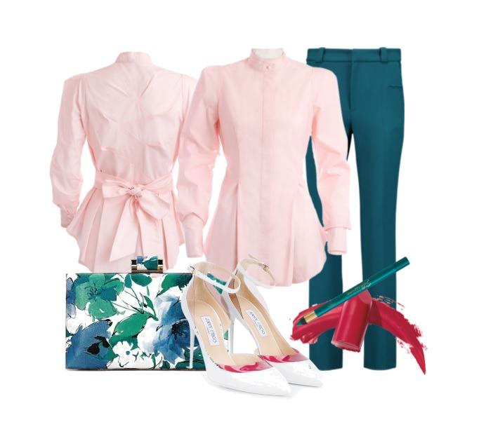 розовый цвет, хлопок 100%, изумрудный, романтический стиль, дизайнерская одежда, женственность