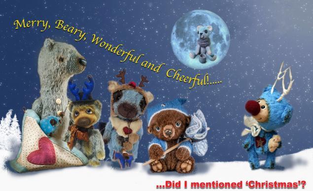 рождество, праздник, поздравление, открытка, мишки тедди, медвежонок, олень, синий, christmas