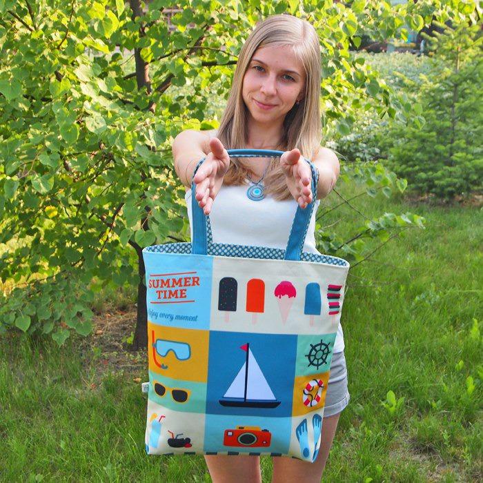 сумка на лето, сумка из ткани