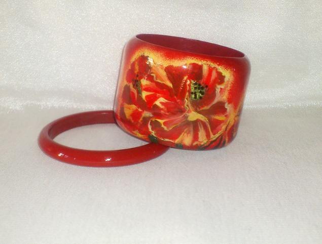 браслет из дерева, браслет купить в москве, красный браслет, листья плюща, браслет красный купить, браслет декупаж купить, браслет ручной работы