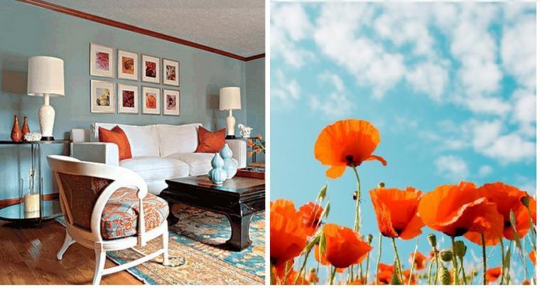 оранжевый и синий, оранжевая подушка, оранжевый интерьер, акценты в интерьере, украшение интерьера