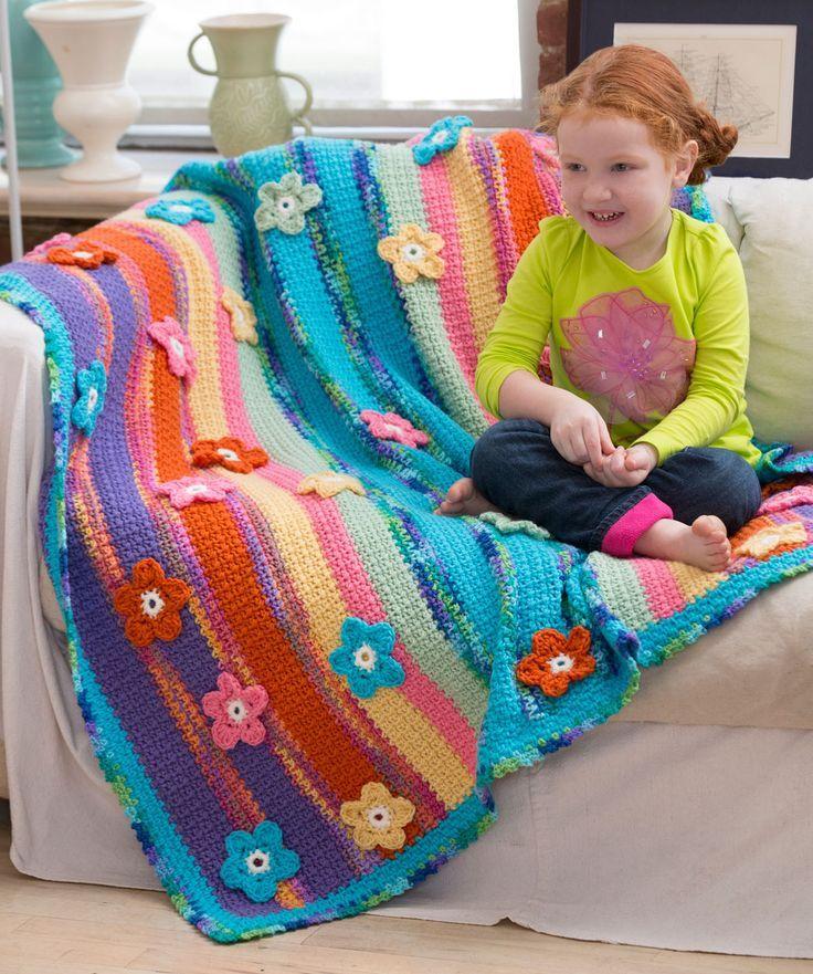 Stripes & Flowers Throw Crochet Pattern | Red Heart