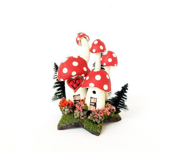 Valentine Mushroom Fairy Houses Upon a Star  by bewilderandpine, $25.00