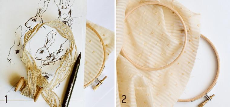 Вышиваем винтажную пасхальную брошь в технике объемной вышивки