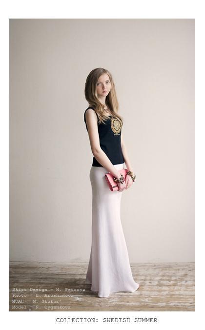 шелк, длинная юбка