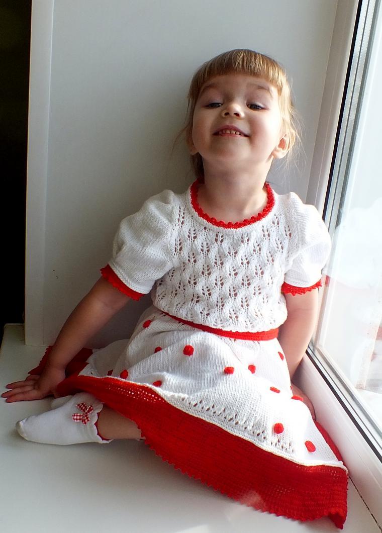 вязаное платье, платье в горох