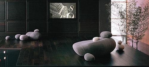 Эти живописные камни, эффектно разбросанные в интерьере, - ни что иное, как мягкие войлочные пуфы, разработанные в...