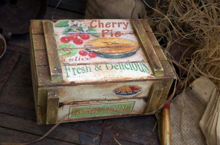 ящик декупаж, короб для специй, вишневый пирог