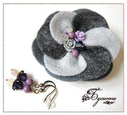 серый, фиолетовый, украшение на шею
