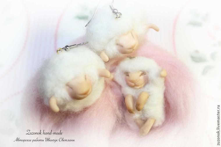 овца, украшения овечки, поделки из шерсти