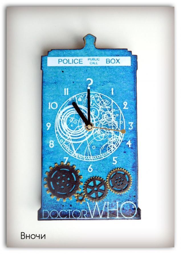 часы тардис, доктор кто, декупаж тардис