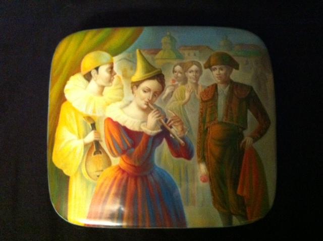 арлекин и пьеро, лаковая миниатюра, выставка, блог