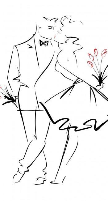 Черно-белая вышивка влюбленных пар