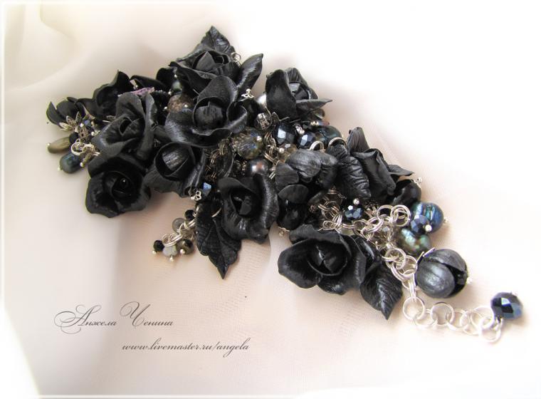 браслет черные розы