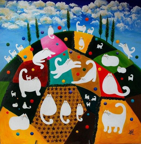 Смешные кошки от английской художницы Kim Haskins, фото № 10
