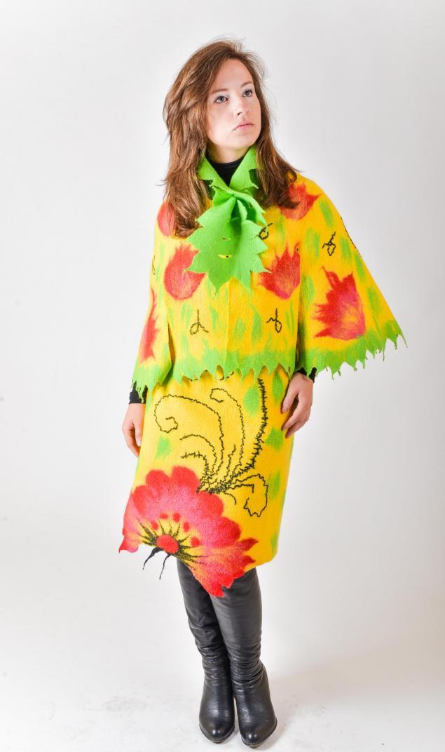 цвет, накидка, яркий, валяная юбка