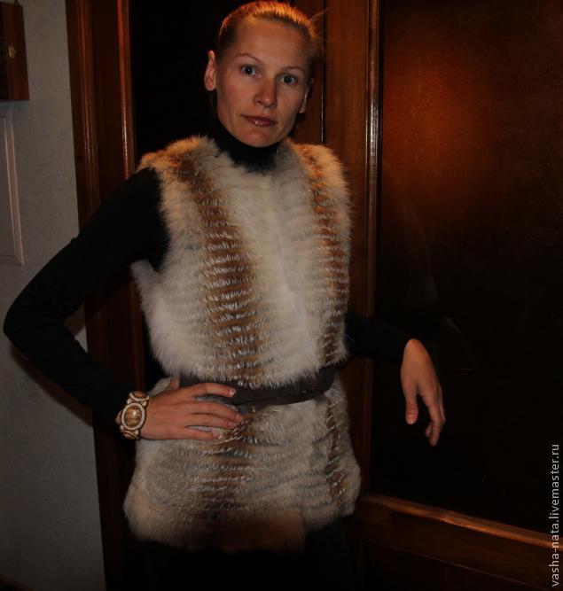 Вязание жилета с мехом