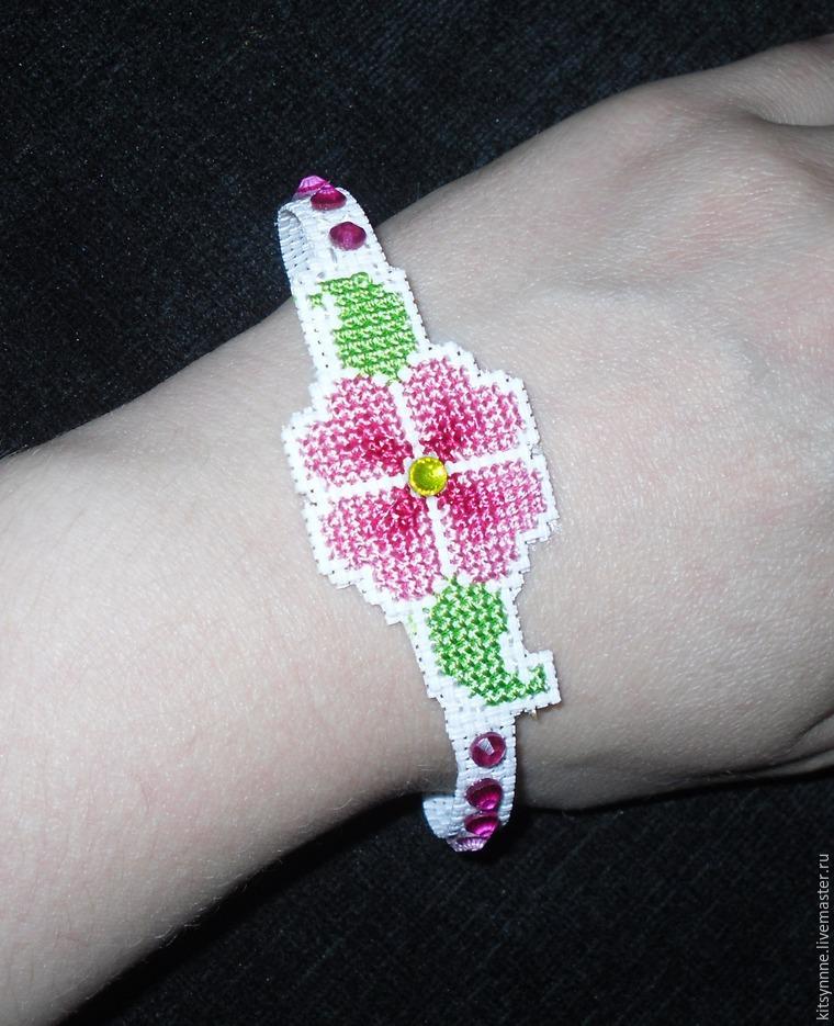 Как сделать браслет с вышивкой «Весеннее настроение», фото № 13
