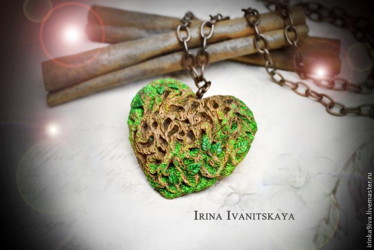полимерная глина, мастер-класс, сердечко, имитация дерева