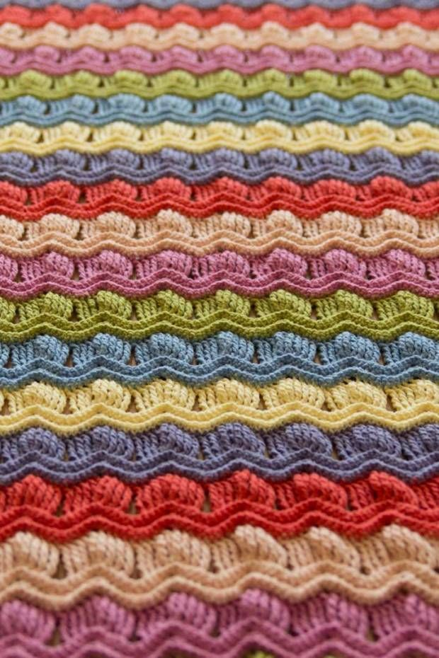 LOVE this pattern! Vintage fan ripple crochet afghan blanket - with link to tutorial