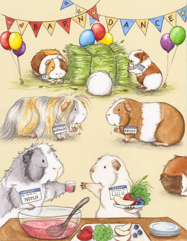Морская свинка открытка с днем рождения