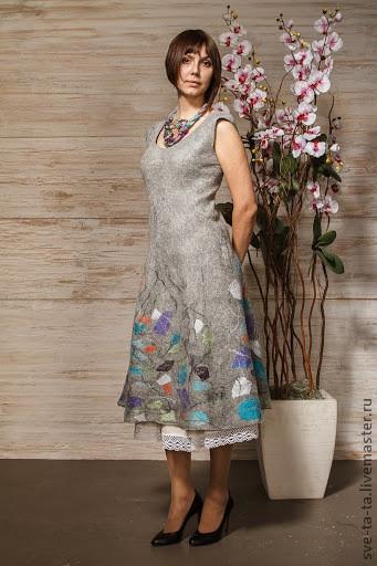 авторский войлок, раскладка платья